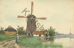 Schilderij-kaart - Molen Met Vrouw In Klederdracht  [5C-185 - Moulins à Vent