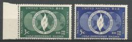 ONU SIEGE DE NEW YORK ANNEE1952 N° 13 14 NEUFS** MNH - ONU