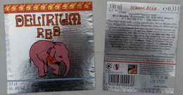 Etiketten M4 Delirium Red Brewery L. Huyghe - Beer
