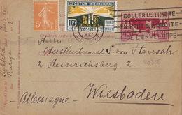 20358# CARTE POSTALE ENTIER ARTS DECO PARIS Obl PARIS DEPART 1928 Pour WIESBADEN ALLEMAGNE DEUTSCHLAND - Cartes Postales Types Et TSC (avant 1995)