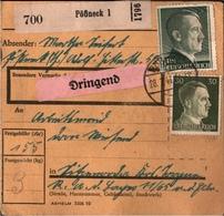 ! 1943 Paketkarte Deutsches Reich, Pößneck Nach Sitzenroda Bei Torgau, R.A.D. Lager, Reichsarbeitsdienst - Germany