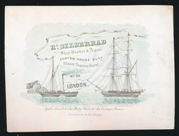 LONDON PORSELEINKAART  14X11 CM - Rd.SILBERRAD SHIP BROKER & AGENT CUSTON HOUSE A LOWER THAMSE STREET 65 LONDON 4 SCANS - Publicités