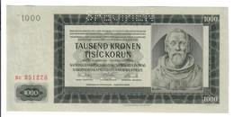 BOHEMIA & MORAVIA 1000 Korun 1942 SPECIMEN Pick 15s Sup/q.fds Lotto.2825 - Cecoslovacchia
