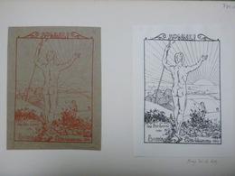 Lot De 2 Ex-libris Illustrés XIX - Börries Frhr. V. MUNCHHAUSEN - 1897 - Homme Nu De Dos - Ex-libris