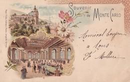 SOUVENIR DE MONTE CARLO      LITHO  2 VUES           PRECURSEUR - Monte-Carlo