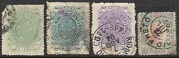 Brazil  1890   Sc#99-100, 102, 109   20r, 50r, 100r, 100r  Used   2016 Scott Value $5.55 - Brazilië