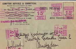 20367# CARTE POSTALE EMA A 0612 Obl PARIS 84 1926 Pour AMSTERDAM PAYS BAS NEDERLAND EMPREINTE MACHINE A AFFRANCHIR - Marcophilie (Lettres)