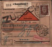 ! 1934 Nachnahme Paketkarte Deutsches Reich, Ronneburg In Thüringen Nach Jena, Zurück + Nachgebühr Stempel - Briefe U. Dokumente