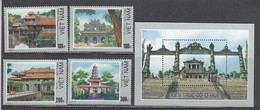 Vietnam 1990 - Architecture, Mi-Nr. 2126/29+Bl. 74, Dent., MNH** - Vietnam
