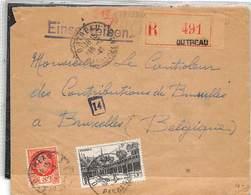 1942.- LETTRE RECOMMANDÉE DE OUTREAU A BRUXELLES. MARQUE DE CENSURE. YV Nº 499 ET 521 - Francia