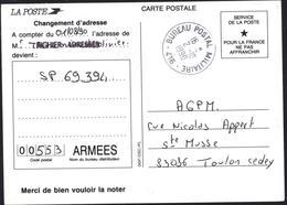 CP N'oubliez Pas Code Postal Réexpédition Du Courrier Changement D'adresse CAD Bureau Postal Militaire 416 2 10 1990 - Storia Postale