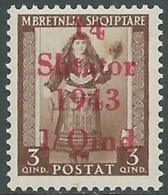 1943 OCCUPAZIONE TEDESCA ALBANIA EFFIGIE 1 SU 3 Q MNH ** - RB37-5 - Occ. Allemande: Albanie