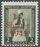 1943 OCCUPAZIONE TEDESCA ALBANIA EFFIGIE 2 Q MNH ** - RB37-5 - Occ. Allemande: Albanie