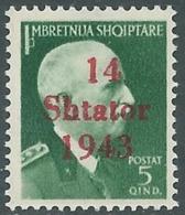1943 OCCUPAZIONE TEDESCA ALBANIA EFFIGIE 5 Q MNH ** - RB37-5 - Occ. Allemande: Albanie