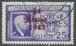 1943 OCCUPAZIONE TEDESCA ALBANIA ESPRESSO USATO 2,50 Q - RB40-8 - Occ. Allemande: Albanie