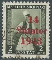 1943 OCCUPAZIONE TEDESCA ALBANIA USATO EFFIGIE 2 Q - RB40-7 - Occ. Allemande: Albanie