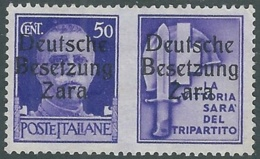 1943 OCCUPAZIONE TEDESCA ZARA PROPAGANDA DI GUERRA 50 CENT SENZA GOMMA - RB33-7 - German Occ.: Zara