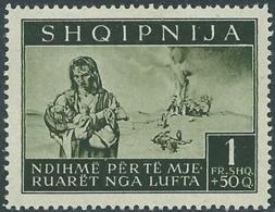 1944 OCCUPAZIONE TEDESCA ALBANIA PRO SINISTRATI 1 F MNH ** - RB41-6 - Occ. Allemande: Albanie