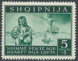 1944 OCCUPAZIONE TEDESCA ALBANIA PRO SINISTRATI 5 Q MNH ** - RB41-6 - Occ. Allemande: Albanie
