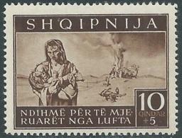 1944 OCCUPAZIONE TEDESCA ALBANIA PRO SINISTRATI 10 Q MNH ** - RB41-6 - Occ. Allemande: Albanie