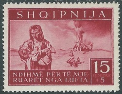 1944 OCCUPAZIONE TEDESCA ALBANIA PRO SINISTRATI 15 Q MH * - RB41-6 - Occ. Allemande: Albanie