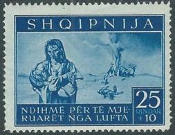 1944 OCCUPAZIONE TEDESCA ALBANIA PRO SINISTRATI 25 Q MH * - RB41-6 - Occ. Allemande: Albanie