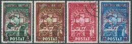 1945 ALBANIA USATO CROCE ROSSA 4 VALORI - RB40-8 - Albania