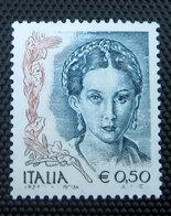 2003 ITALIA  Donne Nell'arte  0,50 € MNH Varietà Stampa Evanescente Occhio Bianco - 2001-10: Mint/hinged