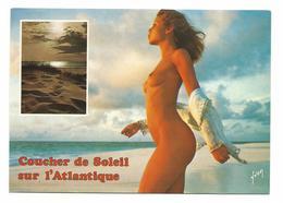 NU COUCHER DE SOLEIL SUR L'ATLANTIQUE- CARTE Ecrite - Voir Detail Annonce - Nudi Adulti (< 1960)