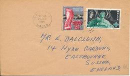Malta Cover Sent To England 24-1-1966 - Malta