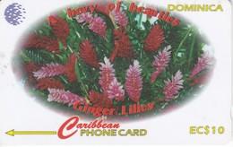 TARJETA DE DOMINICA DE $10 DE UNAS FLORES (FLOR-FLOWER) 138CDMA (rozada) - Dominica