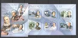 BC1013 2011 MOZAMBIQUE MOCAMBIQUE SCIENCE COMMUNICATION OF XX CENTURY 1KB+1BL MNH - Télécom