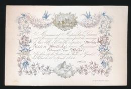 PORSELEINKAART 16 X 10 CM - MIMIE FR. HENDRICKX VAN DAMME AVEC EDONARD VAN HIFTE  15 AVRIL 1844 - 4 SCANS - - Mariage
