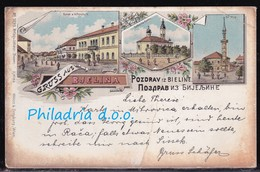 Bijeljina, Colour Litho, Mailed 1902, Heavily Creased - Bosnien-Herzegowina