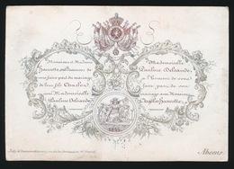 PORSELEINKAART 12 X 8 CM - MADEMOISELLE PAULINE DELSANDE AVEC CHARLES HANCOTTE 1844  - 5 SCANS - Mariage