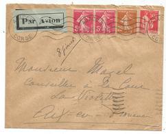 N°235+278BX2+283 LETTRE AVION AJACCIO CORSE 8.II.1936 POUR AIX AU TARIF - 1906-38 Säerin, Untergrund Glatt