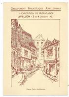 ENTIER 40C PAIX CP REPIQUAGE AVALLON 3.10.1937 EXPOSITION PROPAGANDE PHILATELIQUE - Ganzsachen