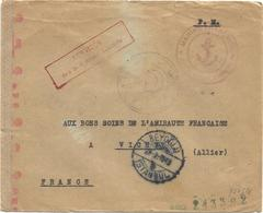 LETTRE FM BEYOGLU TURQUIE 1943 + GEIFFE SERVICE SES BELIGERANT INTERNES + MARINE FRANCAISE CENSURE NAZI RARE - Poststempel (Briefe)