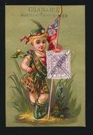 CHROMO FOND DORE 11 X 7.5 CM - TIMBRE POSTE ANGLETERRE - CHEMISERIE CHANABIE  BOULOGNE S/MER   2 SCANS - Trade Cards