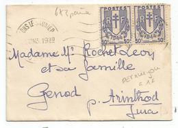 CHAINE 50C PAIRE  MIGNONNETTE LONS LE SAUNIER 31.XII.1945 JURA DERNIER JOUR DU TARIF Mais 20c En Trop - 1941-66 Coat Of Arms And Heraldry