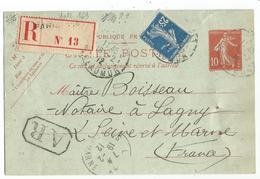 ENTIER 10C SEMEUSE CP +N°140 REC AR PARIS 18.2.1912 POUR LAGNY - 1906-38 Semeuse Con Cameo