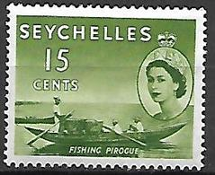 SEYCHELLES    -    1954 / 57   .   Queen  E II   /   Pêcheur En Pirogue - Seychelles (...-1976)