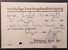 Récépissé Versement 50 RM STALAG VI D Dortmund Prisonnier De Guerre Février 1944 > RIVERY - Poststempel (Briefe)