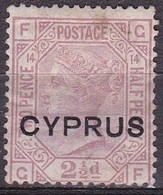 CYPRUS 1880 Stamps Of UK Ith Overprint CYPRUS 2½ D Rose Lilac Vl. 3 Plate 14 MH - Cyprus (...-1960)