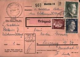! 1943 Paketkarte Deutsches Reich, Stettin - Allemagne