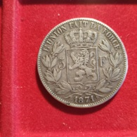 Belgio 5 Franchi 1871 - 1865-1909: Leopold II