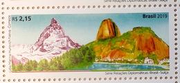 Brazil Stamp C 3875 Selo Relações Diplomáticas Brasil Suiça 2019 SWITZERLAND MATTERHORN MOUNTAINS - Brazilië