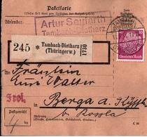! 1934  Paketkarte Deutsches Reich, Tambach Dietharz, Thüringerwald Nach Berga Kyffhäuser, Einkreisstempel - Briefe U. Dokumente