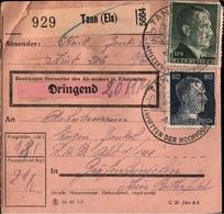 ! 1943 Paketkarte Deutsches Reich, Tann Im Elsaß, Alsace, Thann, An R.A.D. Lager In Gräfenhainichen, Reichsarbeitsdienst - Elsass-Lothringen