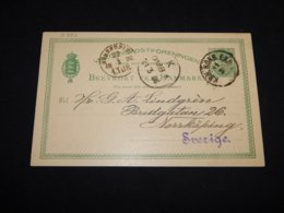 Denmark 1886 5ö Green Stationery Card To Sweden__(L-31382) - Postal Stationery